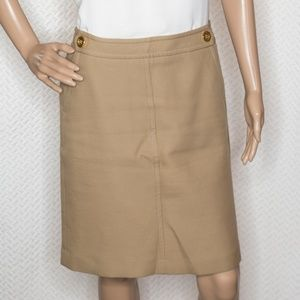 Talbots Tan Corduroy Skirt with Gold buttons
